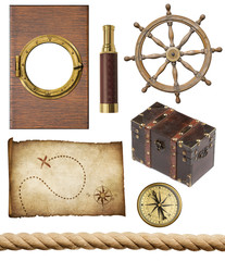 nautical objects set isolated: ship window or porthole, old trea