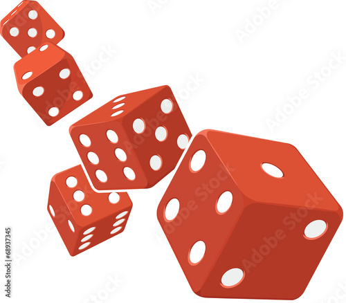 Dice Rolling with White Background - 68937345