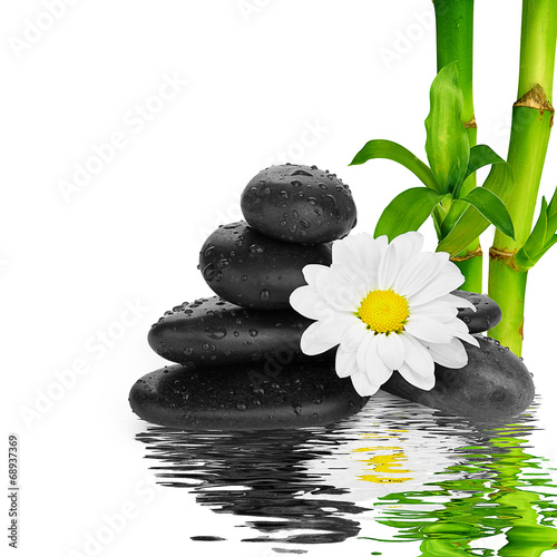 spa Background -  black stones and bamboo on water - 68937369