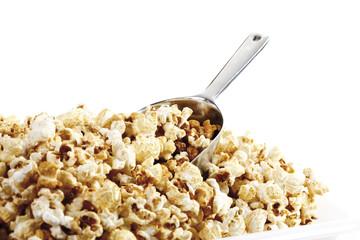 Popcorn auf Schaufel,close-up