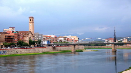 Day view of Pont de l'Estat over Ebro  in Tortosa, Spain