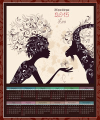 Calendar for 2015 year with a goat and Zodiac sign leo. fashion