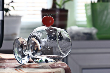 glass beaker with water concept
