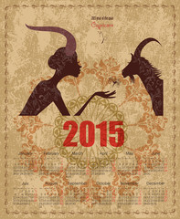Calendar for 2015 year with a goat and Zodiac sign capricorn. fa