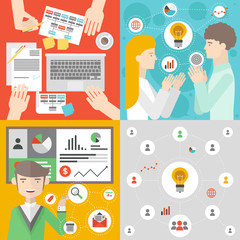 Business meeting and teamwork flat illustration