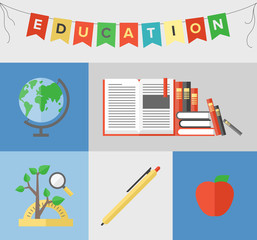 Education flat illustration concept
