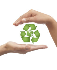 Recycling icon with earth