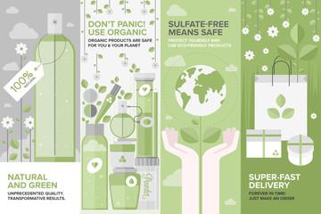 Beauty of natural cosmetics flat banner set