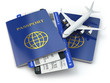 canvas print picture - Travel concept. Passports, airline tickets and airplane.