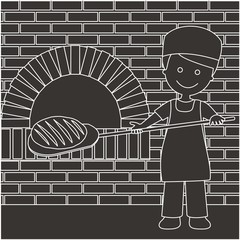 Panadero sacando el pan del horno líneas oscuro con fondo