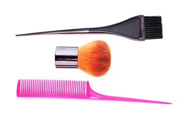Make-up brush, brush and comb isolated on white