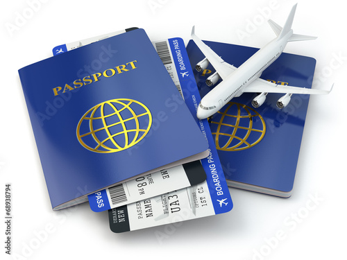 canvas print picture Travel concept. Passports, airline tickets and airplane.
