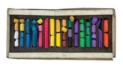 stack of multicolored pastel chalks on box