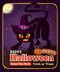Vintage Halloween poster design with cat