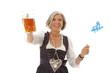 Alte Frau im Dirndl mit Bier und Fahne