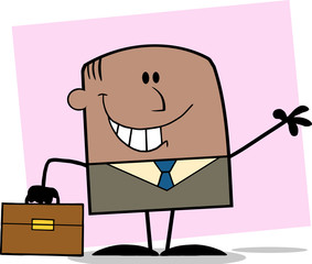 African American Businessman Character Waving On Background