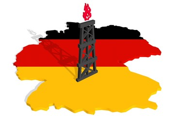 gas rig model near germany relief outline map textured by flag