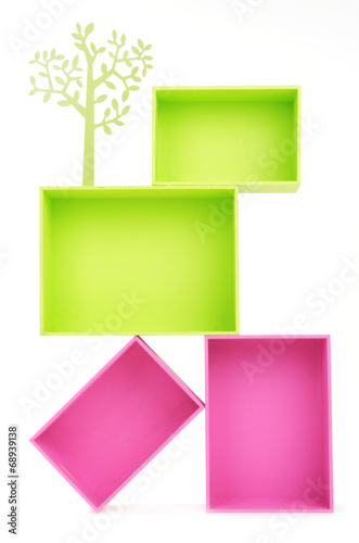 canvas print picture Multicoloured rectangular boxes isolated on white