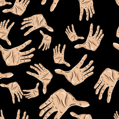 Seamless pattern of hands