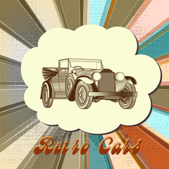 Retro vector card with car and multicolored stripped background