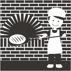 Panadero sacando el pan del horno BN con fondo