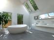 Modernes Badezimmer Interieur mit ovaler Badewanne