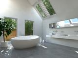 Fototapety Modernes Badezimmer Interieur mit ovaler Badewanne
