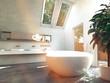 Lichtdurchflutetes Badezimmer mit großer freistehender Badewanne