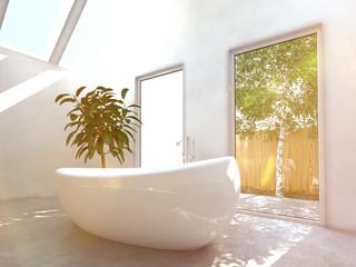 Sonniges Badezimmer mit großer freistehender Badewanne