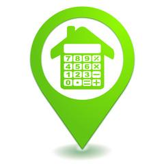 estimation immobilière sur symbole localisation vert
