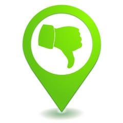 pouce baissé sur symbole localisation vert