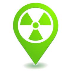 radioactivité sur symbole localisation vert