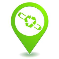 recyclage des néons sur symbole localisation vert