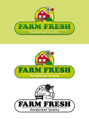 Farm Fresh Product Label with Farmhouse Vector Illustration