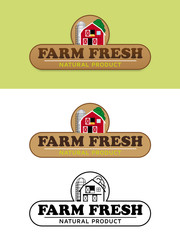 Farm Fresh Food Label with Barn and Silo Vector Illustration