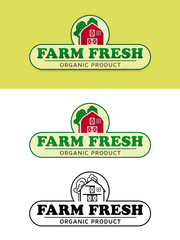 Farm Fresh Food Label with Red Barn Vector Illustration