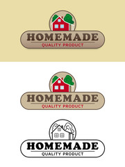 Homemade Product Label with Farmhouse Vector Illustration