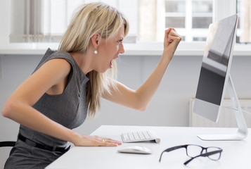 Woman really pissed off with her computer