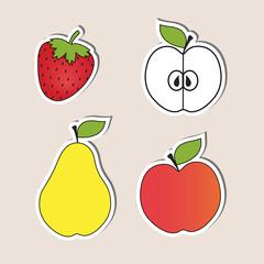Set of juicy healthy food fruits