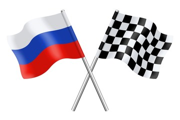 Flags: Russia and checkerboard