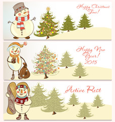 Vector  set of Christmas banners with snowmen