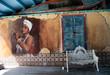 Leinwanddruck Bild - Ornate white wrought iron bench