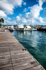 Boats in a marine harbor in Oranjestad, Aruba