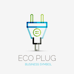 Eco plug company logo, business concept