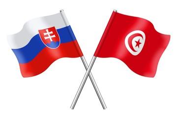 Flags : Slovakia and Tunisia
