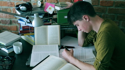 Student studying hard and reading books at home