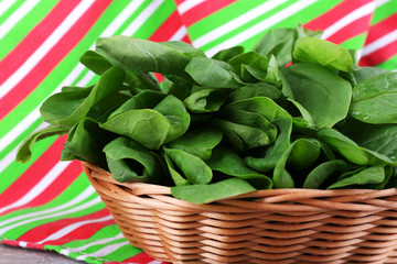 Fresh sorrel in round wicker basket