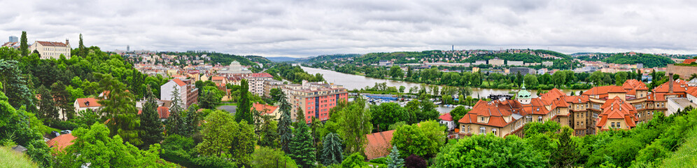Panorama on Vltava river in Prague, Czech republic