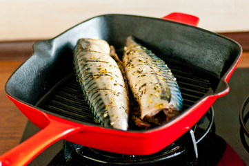 Fresh mackrel cooked on grill pan