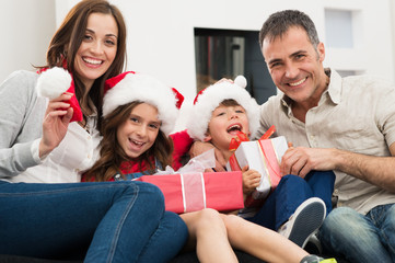 Family Enjoying In Christmas